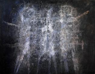 2_Luigi Pericle, Matri Dei d.d.d., Collezione Ursula Giovannetti-Klainguti, 1966, Tecnica mista su masonite, 30 x 42 cm