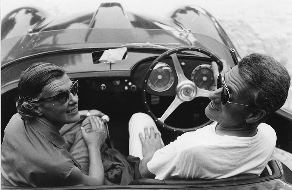 Luigi-Pericle-and-his-wife-Orsolina-on-board-their-Ferrari-Ascona-Museum-collection-
